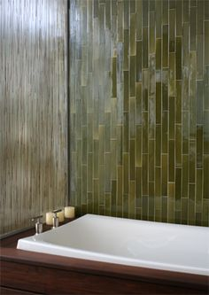 Heath Ceramics 2x12 tile alongside seeded/reeded glass- very forestlike