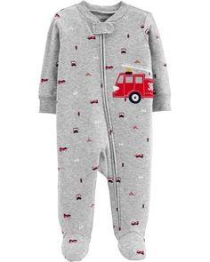 29de4fe8e5 Baby Boy Firetruck Zip-Up Cotton Sleep  amp  Play