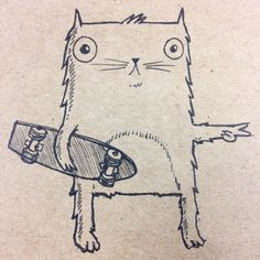 cat skateboarding art - Google Search