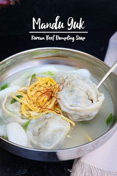 Mandu Guk Korean Dumpling Soup Recipe & Video - Seonkyoung Longest Korean Dumplings, Dumplings For Soup, Rice Cake Soup, Korean Glass Noodles, Asian Recipes, Ethnic Recipes, Korean Soup Recipes, Oriental Recipes, Korean Recipes