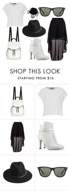 """""""Black and White"""" by queenofmusic598 on Polyvore featuring rag & bone, Alberta Ferretti, BeckSöndergaard and Ray-Ban"""