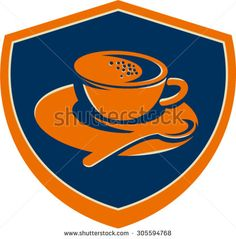 Illustration of a coffee cup and teaspoon set inside shield crest on isolated background done in retro style.  - stock vector #coffeecup #retro #illustration