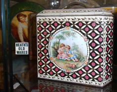 antique and vintage tabacco tea coffee biscuits and chocolate tins for sale at Heaths old wares collectables and industrial antiques 12 station street bangalow ph 0266872222 Coffee Biscuits, Vintage Tins, Tin Boxes, Ph, Decorative Boxes, Industrial, Chocolate, Street, Antiques