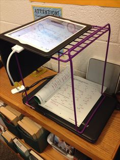 Locker shelf organizer as an iPad stand make-shift document camera. I've seen all kind of homemade iPad stands but this little locker shelf gets the job done alright. Technology Integration, Art And Technology, Educational Technology, Digital Technology, Flipped Classroom, Art Classroom, School Classroom, Teaching Tools, Teaching Resources