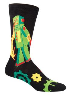 We all know it is just a matter of time before robots take over the world, so we suggest you make a couple electronic friends before you inadvertently fall to their bad side. In blue or black backgrou Cool Socks For Men, Socks World, Crazy Socks, Novelty Socks, Dress Socks, Sock Shoes, Mens Fitness, Cool Outfits, Tights