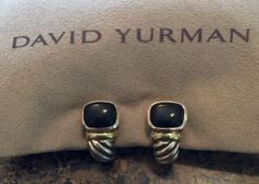 Authentic David Yurman Thoroughbred Black Onyx Clip Earrrings - http://designerjewelrygalleria.com/david-yurman/authentic-david-yurman-thoroughbred-black-onyx-clip-earrrings/