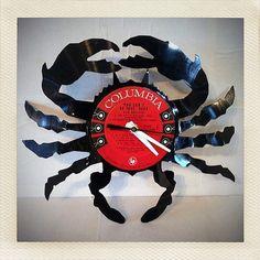 Vintage Vinyl Clock Crab by rengaarts on Etsy, $40.00