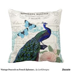 Shop Vintage Peacock on French Ephemera Collage Throw Pillow created by LarkDesigns. Diy Pillows, Custom Pillows, Decorative Throw Pillows, Peacock Christmas Tree, Peacock Decor, Perfect Pillow, Throw Pillow Cases, Cushion Covers, Ephemera
