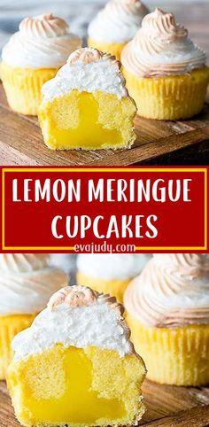Lemon meringue pie is such a classic dessert and every classic dessert must be c. Lemon meringue pie is such a classic dessert and every classic dessert must be created into a cupca Lemon Desserts, Lemon Recipes, Köstliche Desserts, Sweet Recipes, Delicious Desserts, Quick Recipes, Fall Recipes, Yummy Recipes, Cupcake Flavors