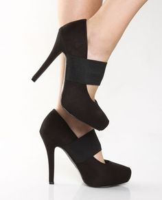 I'm in love with the choices on this website. First up, Privileged Jasper Black Strapped Platform Pumps. $32