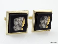 Super nice! Double cameo in silver and gold tones. Vintage 1950's/60's Cuff links. | The Tie Chest