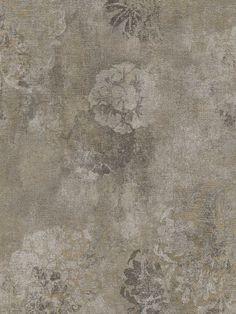Grey Faded Rustic Floral Wallpaper
