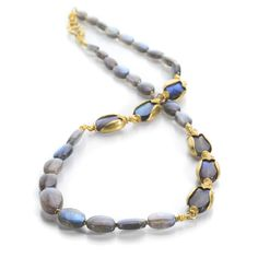 Labradorite necklaces, Labradorite, Yellow gold necklaces, Necklace, Beaded bracelets, Labradorite beads - This lively 22k yellow gold necklace from goldsmith Lilly Fitzgerald features golden beetle c - #Labradoritenecklaces