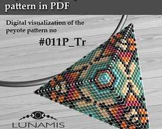Peyote triangle patterns, pattern for triangle pendant, peyote patterns, beading, peyote stitch, digital file, pdf pattern #011P_Tr
