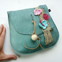 Handmade Leather clutch Purse Bag Jade leather and by Fairysteps, £44.00