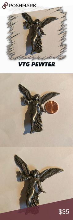 VTG ANGEL BROOCH Adding to my angel collection is this large solid pewter angel brooch! It's heavy but due to secure clasp does not tug at clothing. Perfect VTG condition. Any questions please ask! 🚫Trades. Offers welcome and remember to bundle for additional savings! Tx for browsing! Marian🌹 Vintage Jewelry Brooches