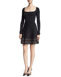 Long-Sleeve+Floral-Hem+Dress,+Black+by+RED+Valentino+at+Neiman+Marcus.