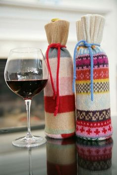 Choose bright and patterned sweaters to create wine bags