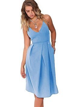 Eliacher Women s Deep V Neck Adjustable Spaghetti Straps Summer Dress  Sleeveless Sexy Backless Party Dresses with Pocket at Amazon Women s  Clothing store  50c3a3874