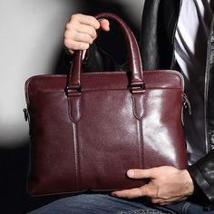 Men Real Leather 15   Laptop Briefcase Messenger Shoulder Laptop Portfolio  Tote  Unbranded   4196ac438b