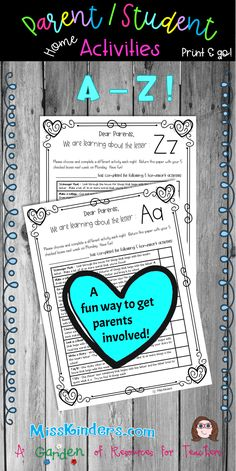 This Parent Student Home Activity is for letters A-Z. All activities include parent involvement! There are 10 different activities to choose from which include phonemic awareness, phonics, reading, and writing. The parent and child choose a different acti Reading Resources, Teacher Resources, Primary Resources, Reading Strategies, School Resources, Meet The Teacher, Teacher Pay Teachers, Kindergarten Teachers, Elementary Teacher