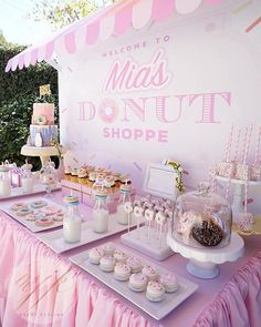 Donut Party Birthday Celebration - Pretty My Party - Party Ideas - Finding Little Luxuries - Donut Party Birthday Celebration - Pretty My Party - Party Ideas Donut Party Dessert Table on Pretty My Party - Dessert Party, Dessert Table Birthday, Birthday Party Desserts, 10th Birthday Parties, Birthday Party Decorations, Birthday Celebration, 10 Birthday, Birthday Ideas, Kids Dessert Table