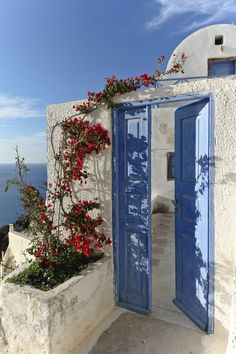 The Blue Door, Oia, Santorini island - Greece Places Around The World, Oh The Places You'll Go, Places To Travel, Around The Worlds, Oia Santorini Greece, Santorini Island, Crete Greece, Athens Greece, Beautiful World