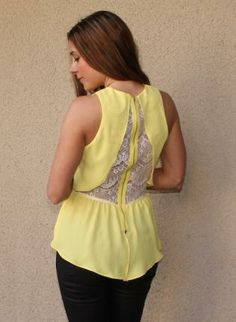 Lace Back Peplum Blouse