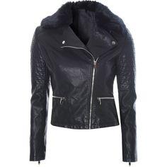Black Faux Fur Collar Jacket ($100) ❤ liked on Polyvore featuring outerwear, jackets, black, moto jacket, black motorcycle jacket, black button jacket, zipper jacket and polyurethane jacket