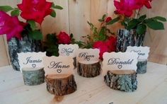 25 Rustic Place Card Holders, Log place card holders, Wood, Wooden, Table Number