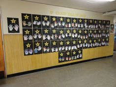 5th grade graduation hall of fame. This was very fun for the kids. You could also have the kids instead of tracing their hands and decorating them they could use paint and have them do their hand prints.