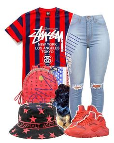 """Happy 4th"" by marriiiiiiiii ❤ liked on Polyvore featuring Casetify, MCM, Asphalt Yacht Club and NIKE"