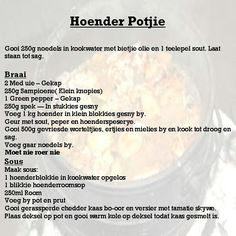 Easy Delicious Recipes, Easy Chicken Recipes, Easy Recipes, Easy Meals, Yummy Food, Kos, Stuffed Green Peppers, South Africa, Food Ideas