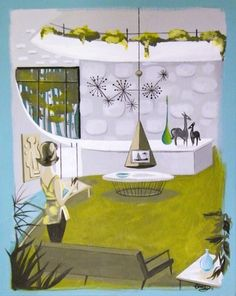 Mid Century Modern - living room illustration