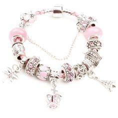 潘多拉风格皮绳手链  3MM真皮手链 粉色系大孔珠 手工DIY串珠手链