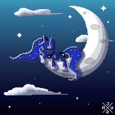 #1372159 - animated, artist:itsjaytimestwo, cloud, eyes closed, moon, night, pixel art, princess luna, prone, safe, sleeping, solo, stars, tangible heavenly object - Derpibooru - My Little Pony: Friendship is Magic Imageboard