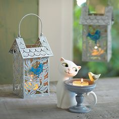 Who says cats and birds can't be friends?  Garden Diva Tealight Holder, Bird Haven Votive Lantern #PartyLite #candles