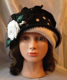 Black fleece cloche hat women ladies girls polka dot by Tatiana123, $85.00