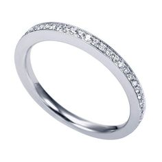 Genesis Designs WB7141W43JJ Wedding Ring 14K White Gold Victorian Style Straight Band Featuring Gorgeous Pave