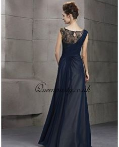 #DIY Chiffon And Lace Navy Blue Sleeve Long Evening Gown