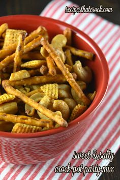 Sweet and Salty Crock Pot Party Mix- So good. Everyone will ask you what you put in it to make it so good! #crockpot