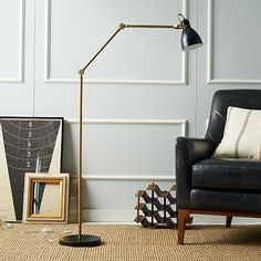 Industrial Task Floor Lamp - Black + Brass