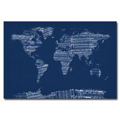 Michael Tompsett 'Sheet Music World Map in Blue' Canvas Art   Overstock.com