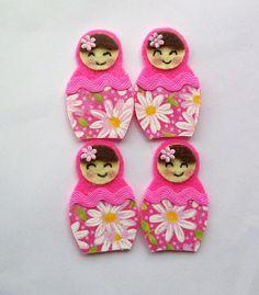 Hot pink felt and fabric Babushka dolls
