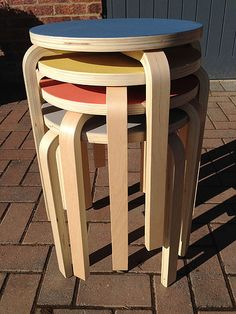 ikea frosta stools painted with mini moderns paint (Aalto much?)