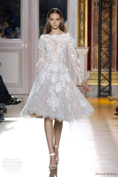 zuhair murad fall 2012 couture short lace long sleeve white dress