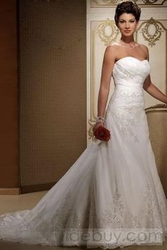 Tidebuy.com Offers High Quality Elegant A-Line/Princess Sweetheart Chapel Appliques Bridal Gown (3AA0447), We have more styles for (Free Shipping)