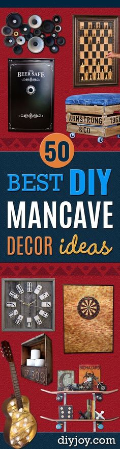 DIY Mancave Decor Ideas - Step by Step Tutorials and Do It Yourself Projects for Your Man Cave - Easy DIY Furniture Wall Art Sinks Coolers Storage Shelves Games Seating and Home Decor for Your Garage Room - Fun DIY Projects and Crafts for Men http: Man Cave Diy, Man Cave Home Bar, Diy Furniture Easy, Furniture Projects, Man Home Decor, Diy Projects For Men, Art Projects, Diy Wedding Decorations, Room Decorations