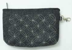 Stitched felt cosmetic bag/clutch. Quilting the felt is not only for decoration, but for durability as well. The endless line of stitches forms variety of patterns widely used all over the world. Color: black. 100% wool. Handmade by Tumar.