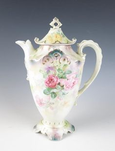 Antique RS PRUSSIA Chocolate Pot Coffee SIGNED Porcelain PINK ROSES Yellow R.S.
